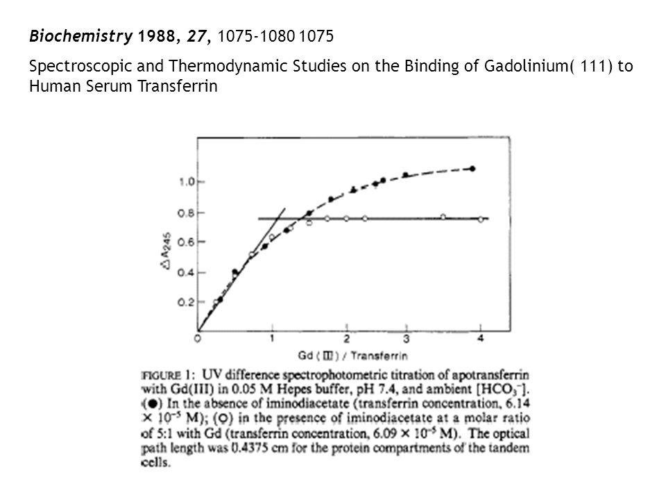 Biochemistry 1988, 27, 1075-1080 1075Spectroscopic and Thermodynamic Studies on the Binding of Gadolinium( 111) to Human Serum Transferrin.
