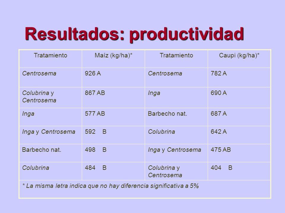 Resultados: productividad