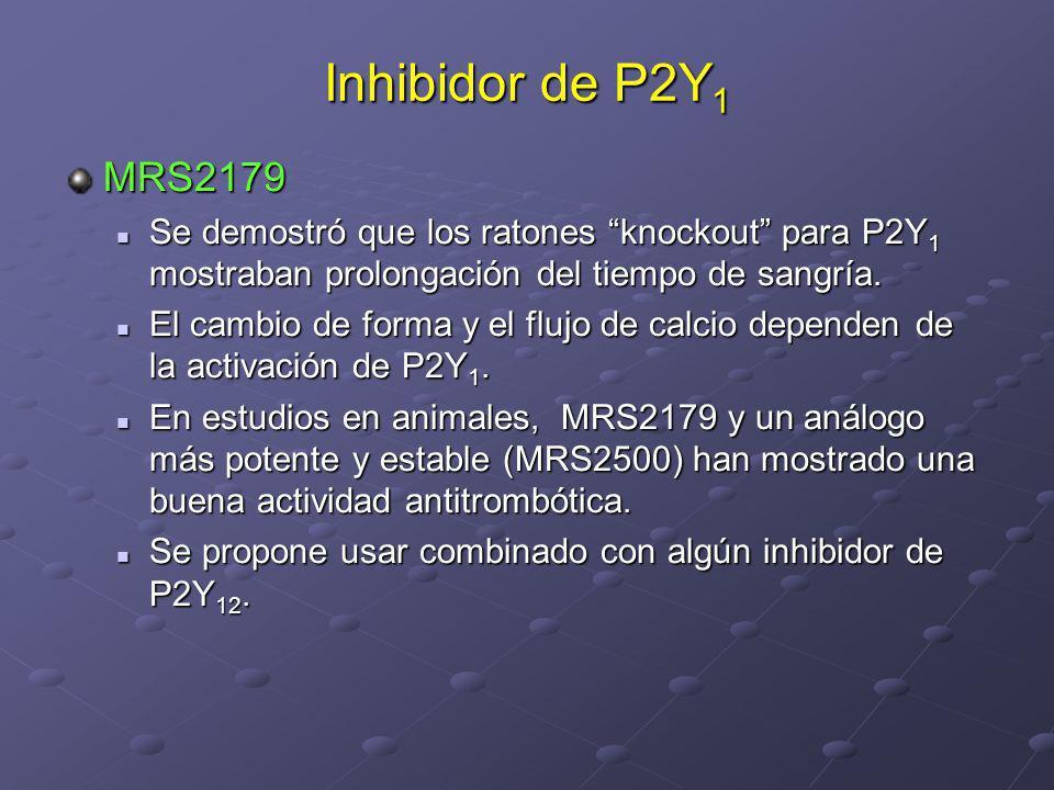 Inhibidor de P2Y1 MRS2179. Se demostró que los ratones knockout para P2Y1 mostraban prolongación del tiempo de sangría.
