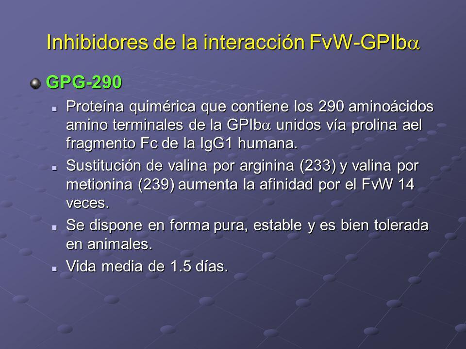 Inhibidores de la interacción FvW-GPIb