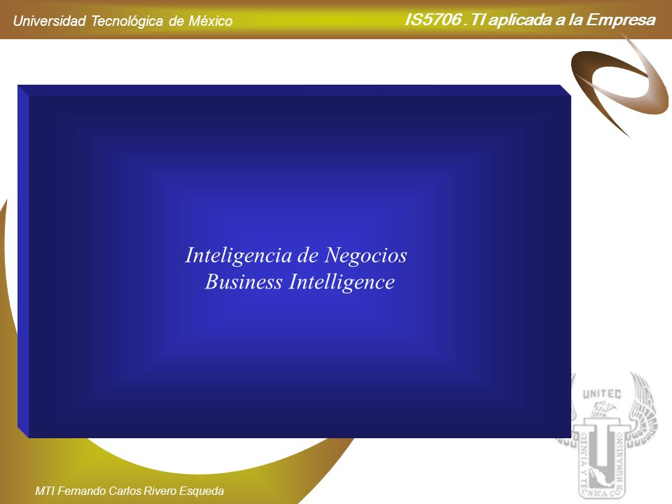 Inteligencia de Negocios Business Intelligence