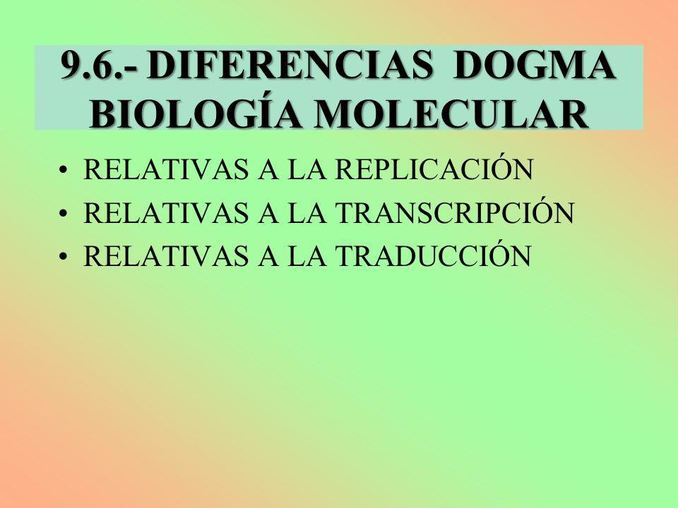 9.6.- DIFERENCIAS DOGMA BIOLOGÍA MOLECULAR