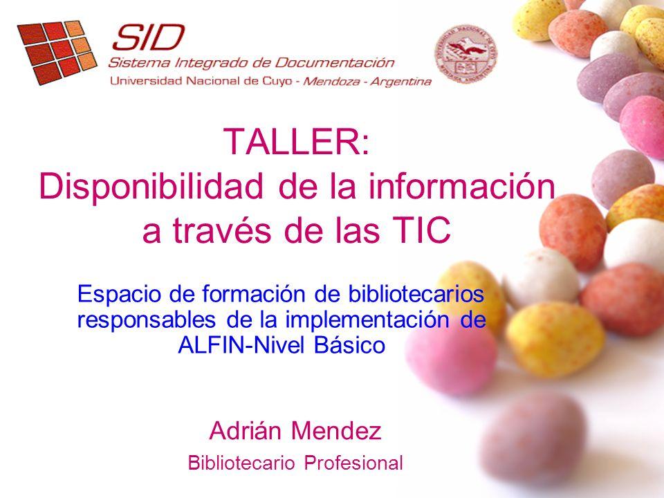 TALLER: Disponibilidad de la información a través de las TIC