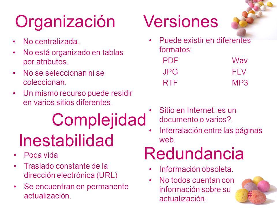 Organización Versiones Complejidad Inestabilidad Redundancia