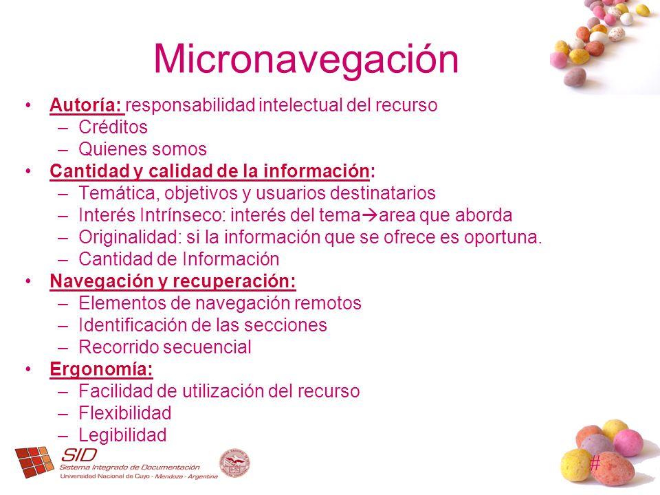 Micronavegación Autoría: responsabilidad intelectual del recurso