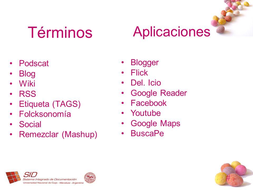 Términos Aplicaciones Blogger Podscat Flick Blog Del. Icio Wiki