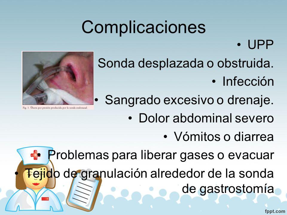 Complicaciones UPP Sonda desplazada o obstruida. Infección