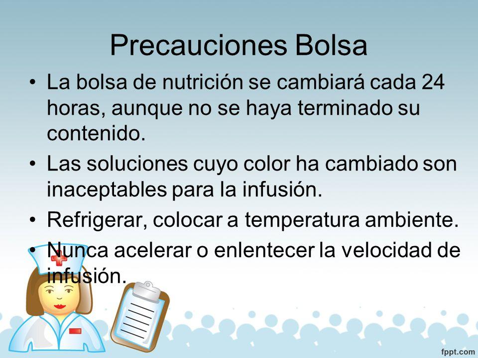 Precauciones Bolsa La bolsa de nutrición se cambiará cada 24 horas, aunque no se haya terminado su contenido.