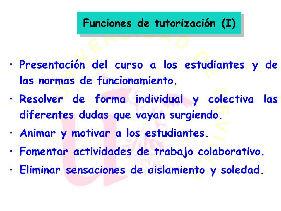 Funciones de tutorización (I)