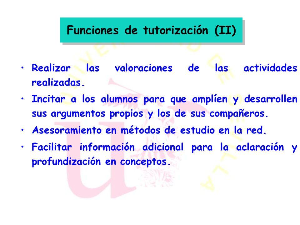 Funciones de tutorización (II)