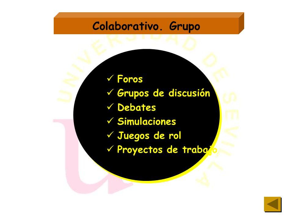 Colaborativo. Grupo Foros Grupos de discusión Debates Simulaciones