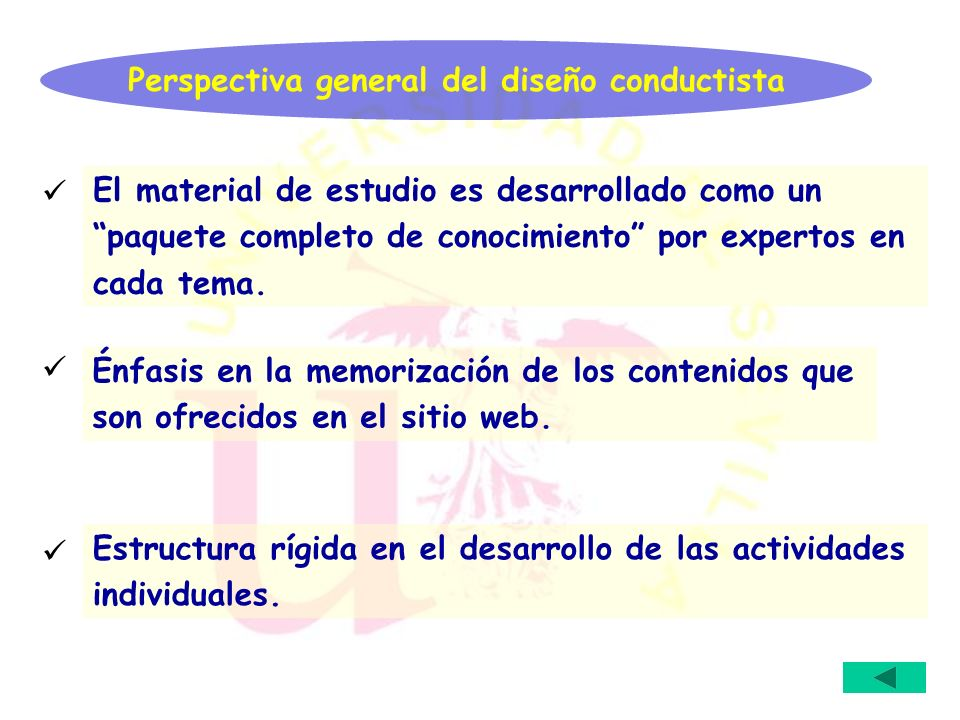 Perspectiva general del diseño conductista