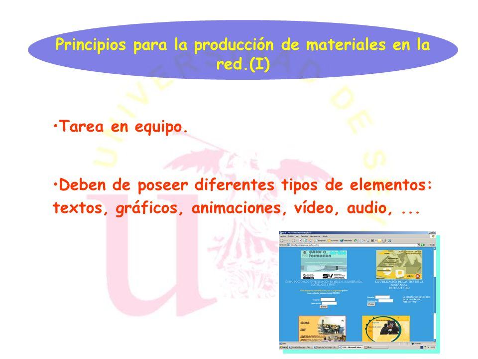 Principios para la producción de materiales en la red.(I)