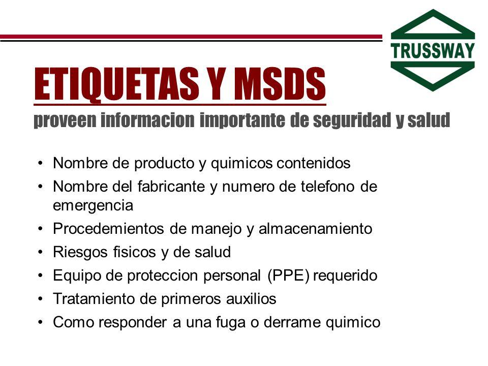 ETIQUETAS Y MSDS proveen informacion importante de seguridad y salud