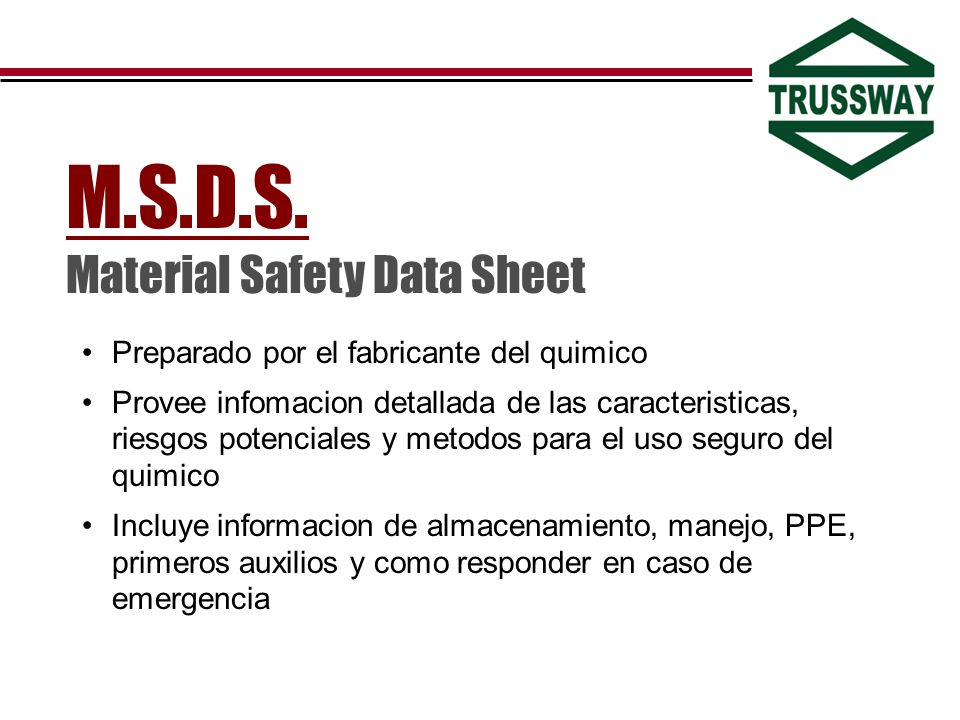 M.S.D.S. Material Safety Data Sheet
