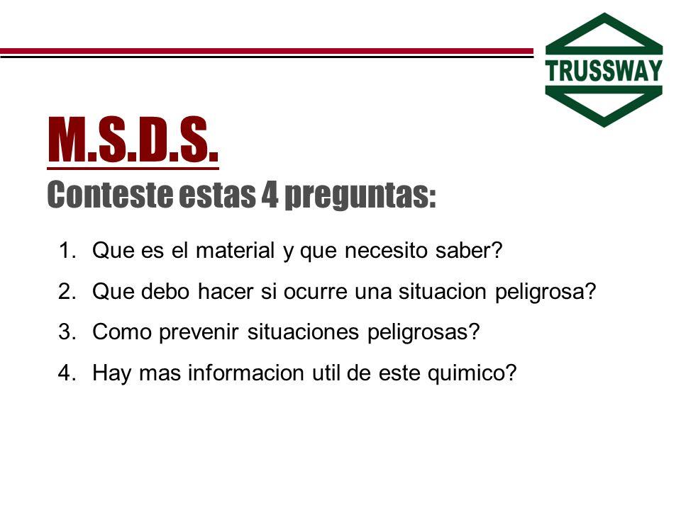 M.S.D.S. Conteste estas 4 preguntas: