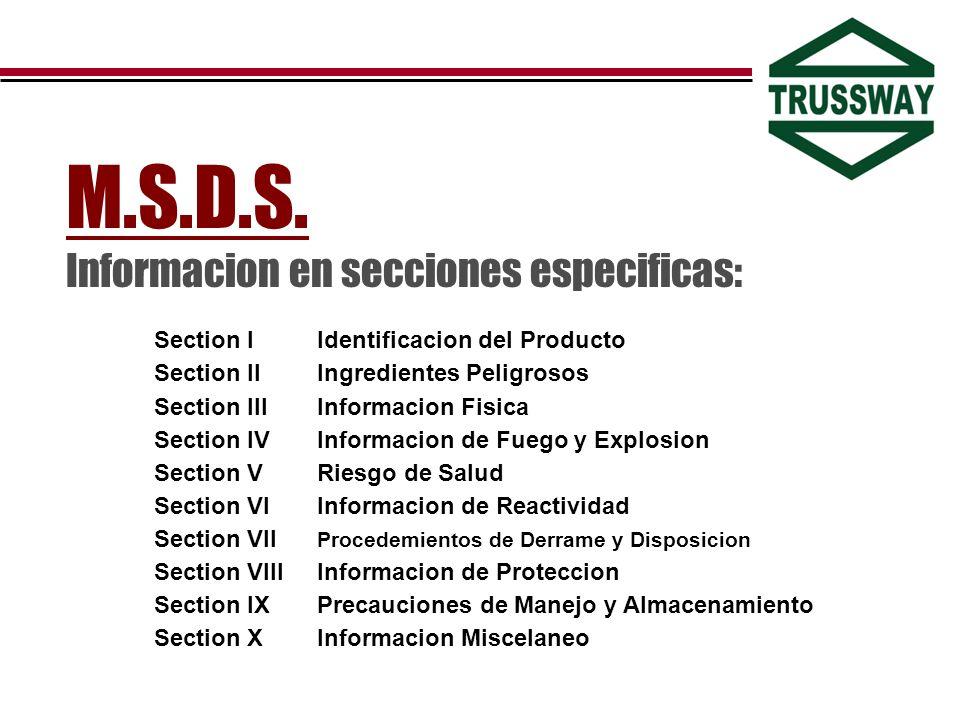 M.S.D.S. Informacion en secciones especificas: