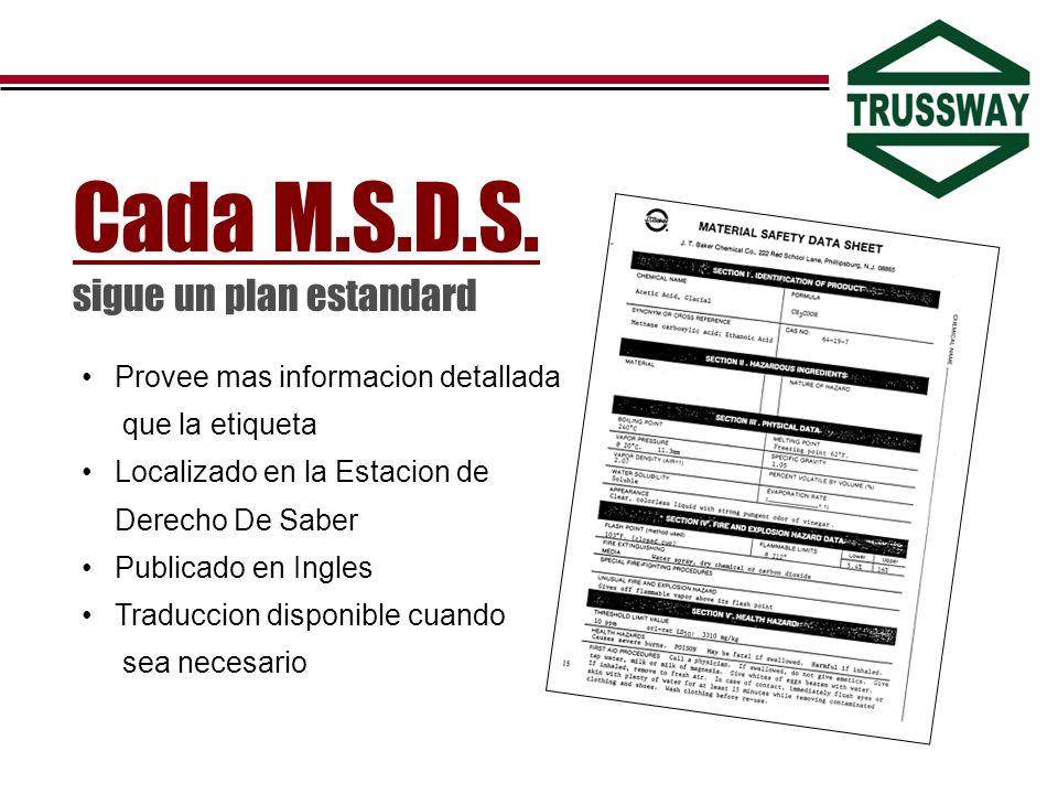 Cada M.S.D.S. sigue un plan estandard Provee mas informacion detallada