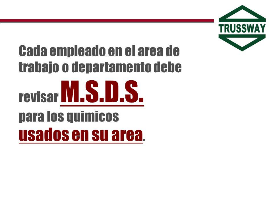 Cada empleado en el area de trabajo o departamento debe revisar M.S.D.S.