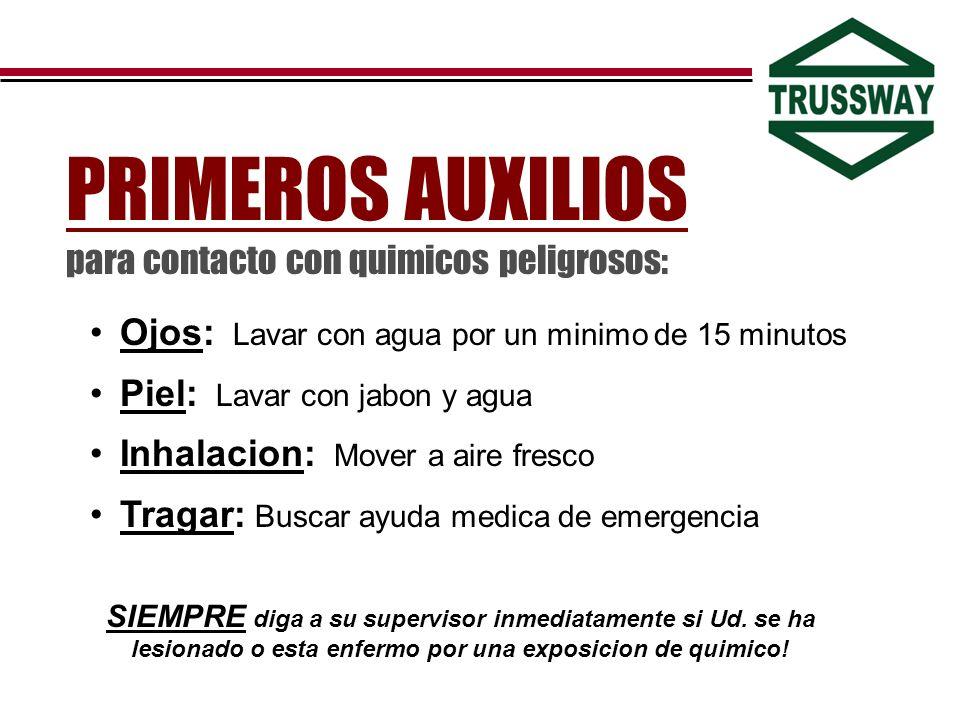 PRIMEROS AUXILIOS para contacto con quimicos peligrosos: