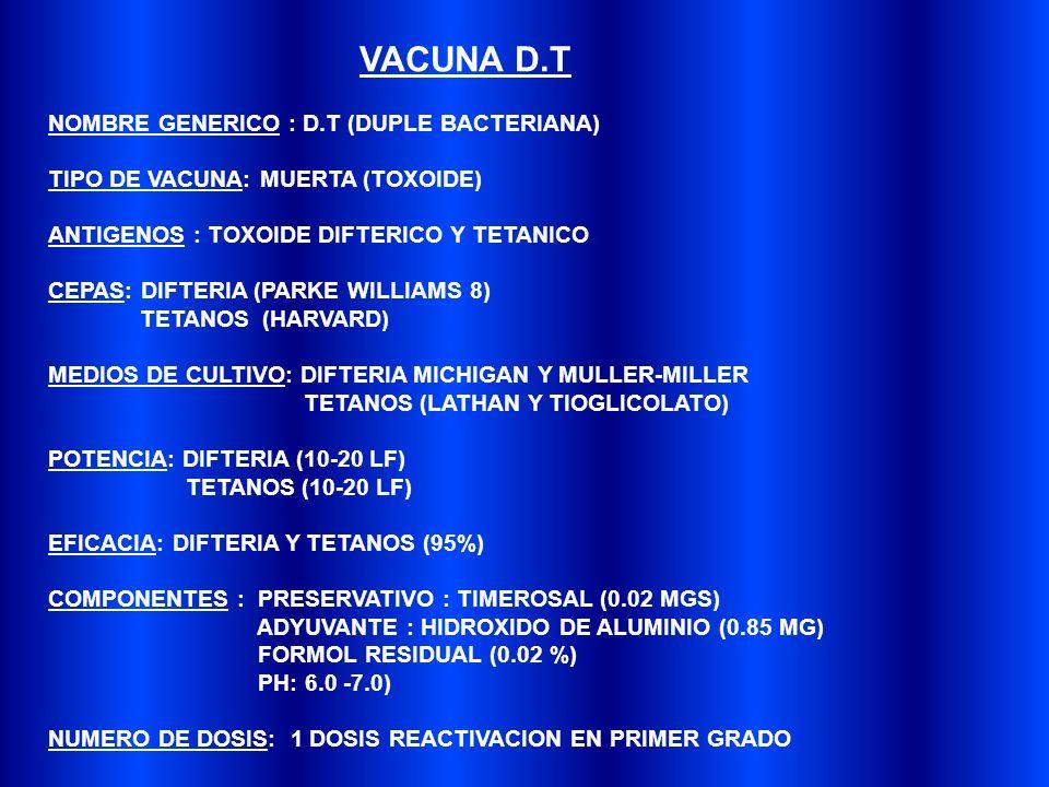 VACUNA D.T NOMBRE GENERICO : D.T (DUPLE BACTERIANA)