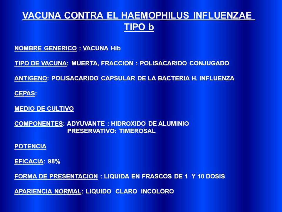 VACUNA CONTRA EL HAEMOPHILUS INFLUENZAE
