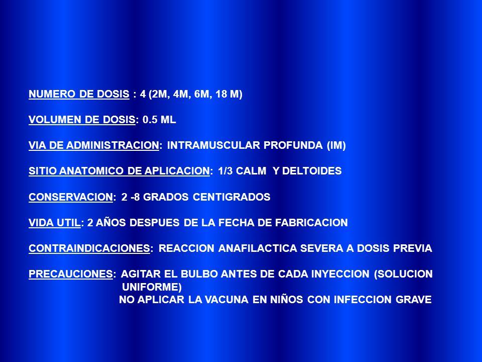 NUMERO DE DOSIS : 4 (2M, 4M, 6M, 18 M)