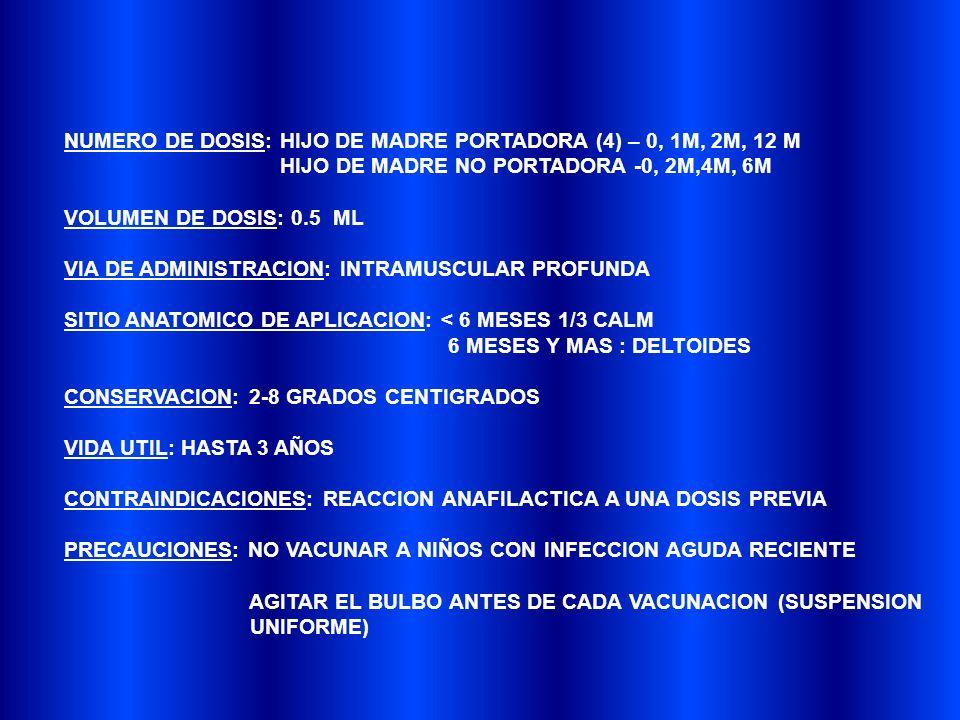 NUMERO DE DOSIS: HIJO DE MADRE PORTADORA (4) – 0, 1M, 2M, 12 M