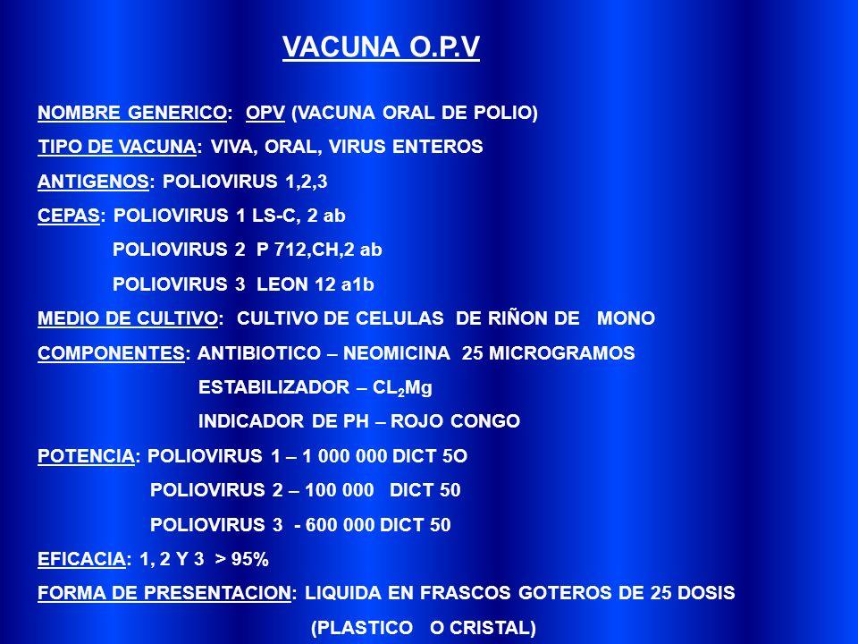 VACUNA O.P.V NOMBRE GENERICO: OPV (VACUNA ORAL DE POLIO)