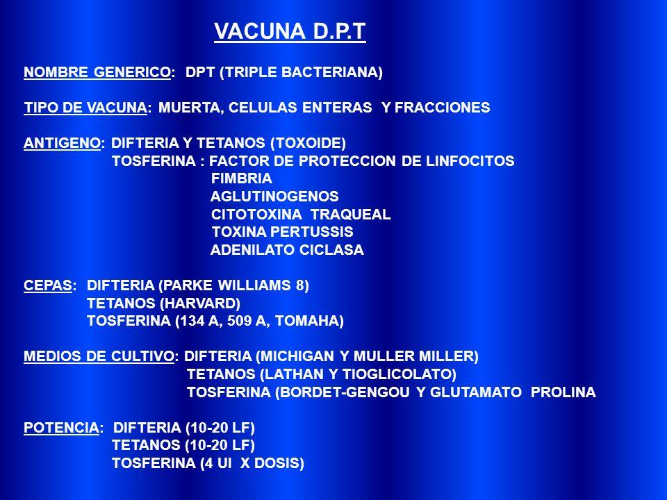 VACUNA D.P.T NOMBRE GENERICO: DPT (TRIPLE BACTERIANA)
