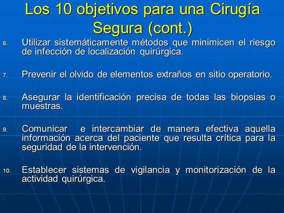 Los 10 objetivos para una Cirugía Segura (cont.)