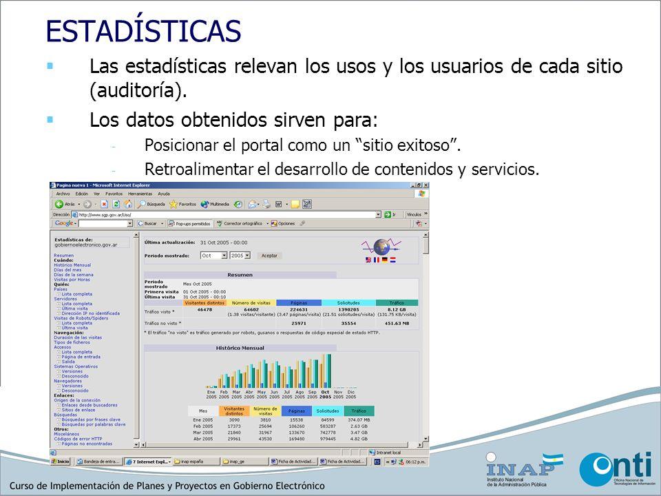ESTADÍSTICAS Las estadísticas relevan los usos y los usuarios de cada sitio (auditoría). Los datos obtenidos sirven para: