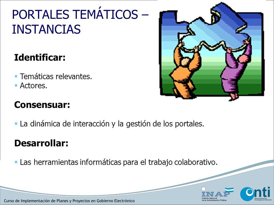 PORTALES TEMÁTICOS – INSTANCIAS