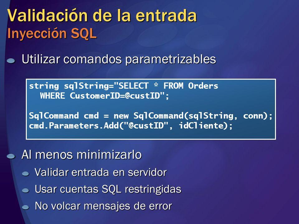 Validación de la entrada Inyección SQL
