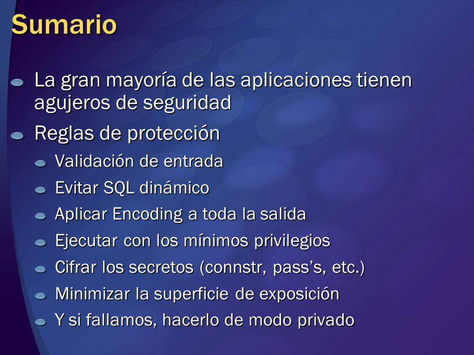 MGB 2003 Sumario. La gran mayoría de las aplicaciones tienen agujeros de seguridad. Reglas de protección.