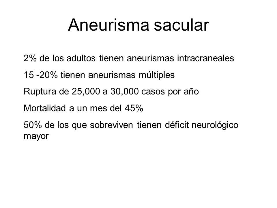 Aneurisma sacular 2% de los adultos tienen aneurismas intracraneales