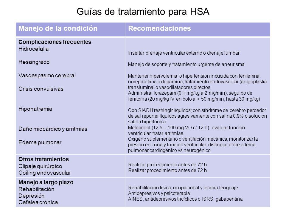 Guías de tratamiento para HSA