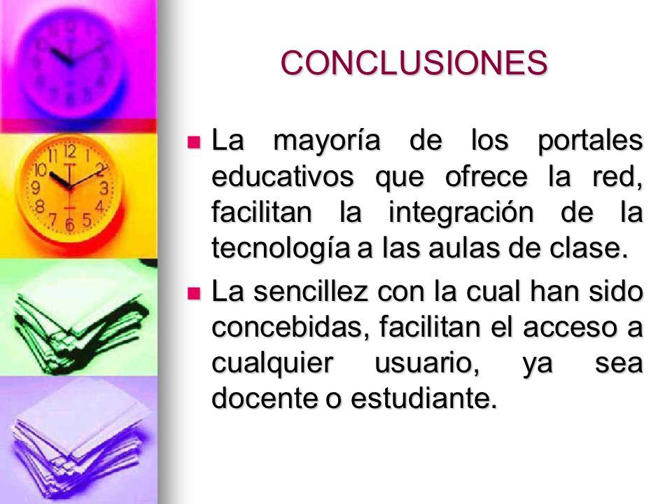 CONCLUSIONES La mayoría de los portales educativos que ofrece la red, facilitan la integración de la tecnología a las aulas de clase.