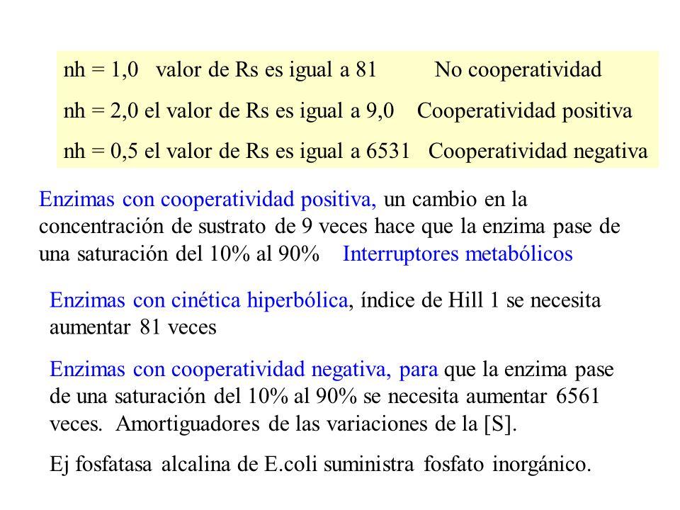 nh = 1,0 valor de Rs es igual a 81 No cooperatividad