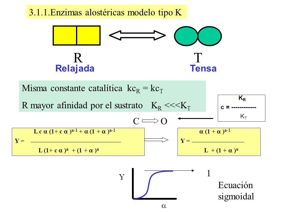 R T 3.1.1.Enzimas alostéricas modelo tipo K Tensa Relajada
