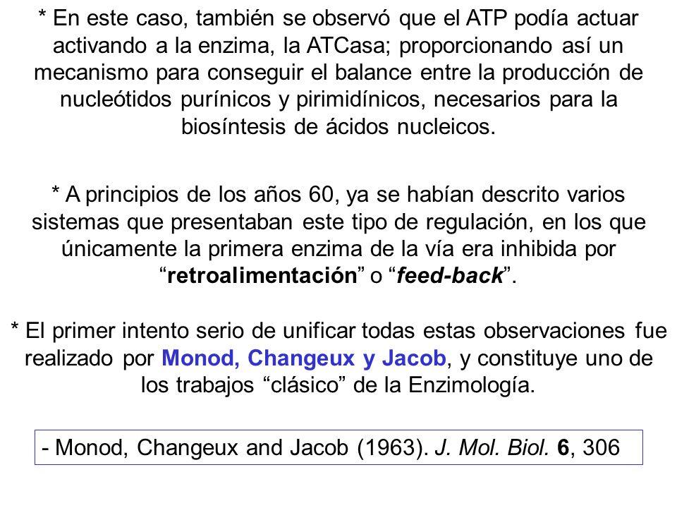 * En este caso, también se observó que el ATP podía actuar activando a la enzima, la ATCasa; proporcionando así un mecanismo para conseguir el balance entre la producción de nucleótidos purínicos y pirimidínicos, necesarios para la biosíntesis de ácidos nucleicos.