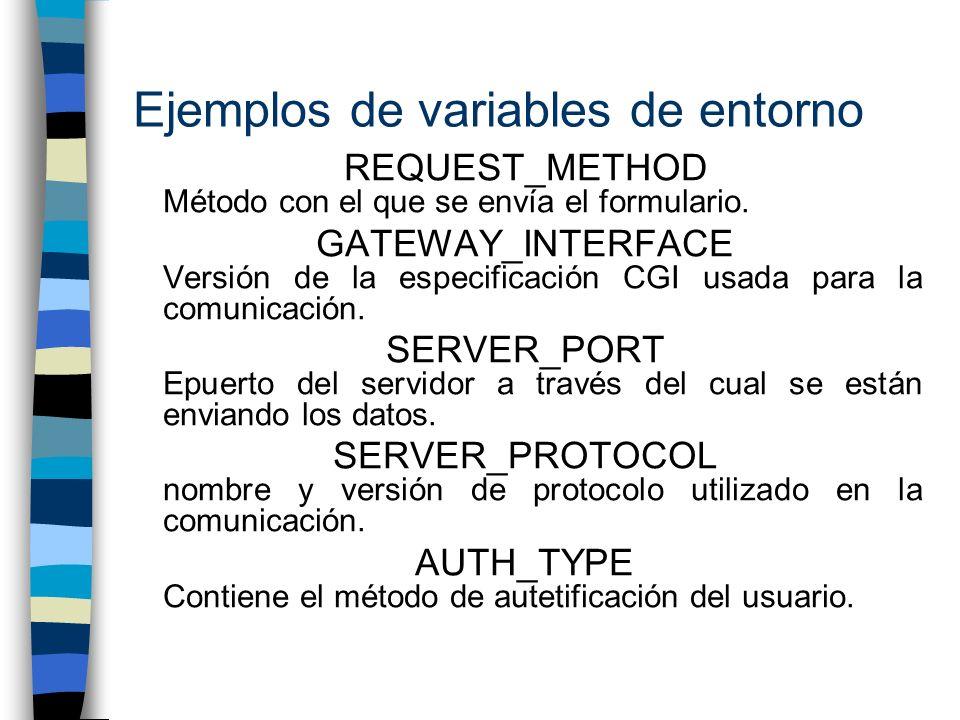 Ejemplos de variables de entorno