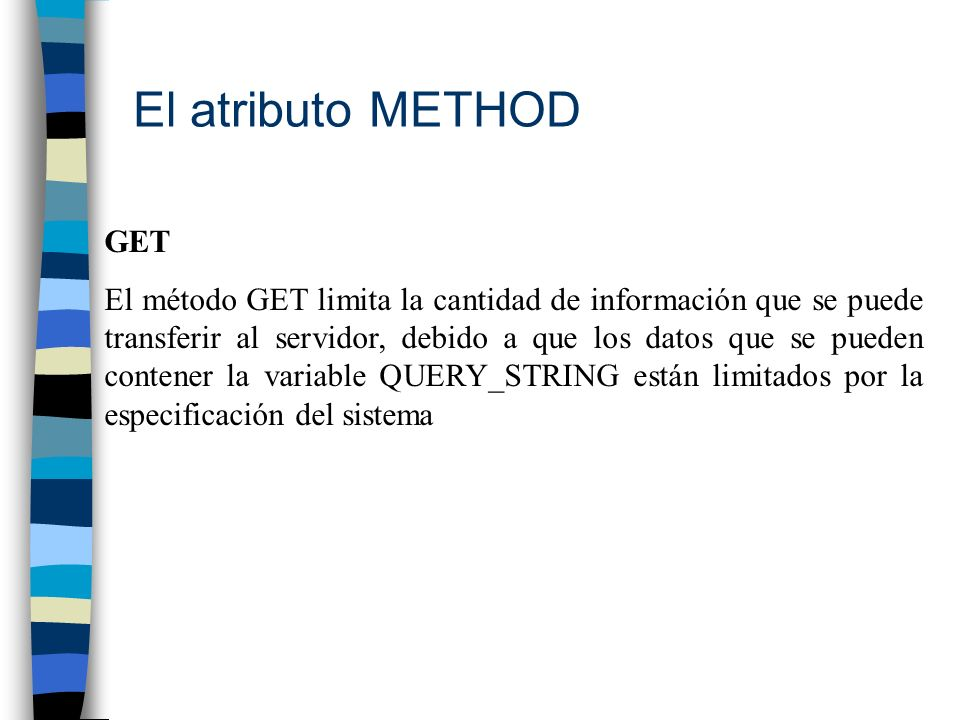 El atributo METHOD GET.