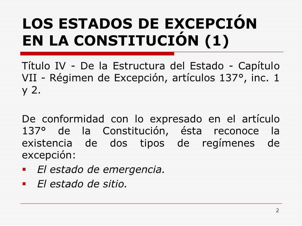 LOS ESTADOS DE EXCEPCIÓN EN LA CONSTITUCIÓN (1)