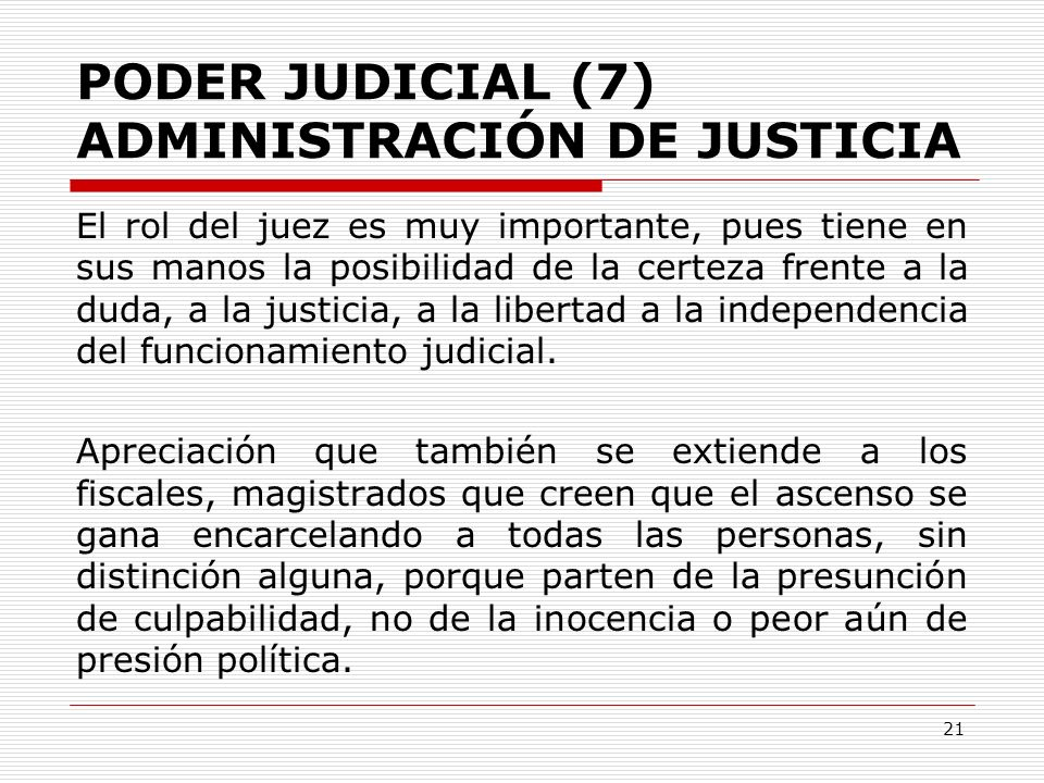 PODER JUDICIAL (7) ADMINISTRACIÓN DE JUSTICIA