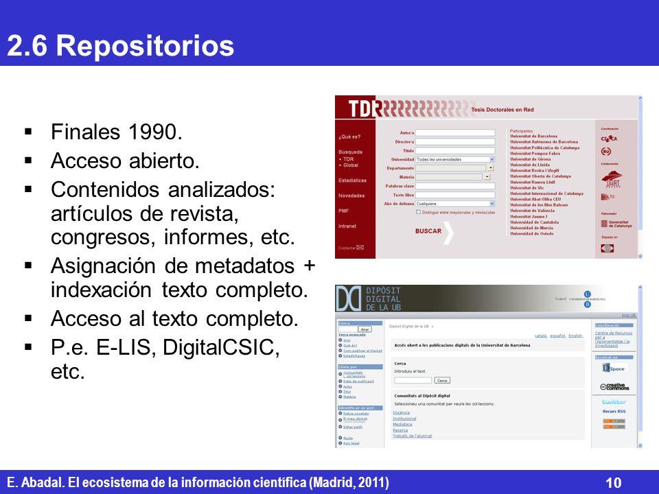 2.6 Repositorios Finales 1990. Acceso abierto.