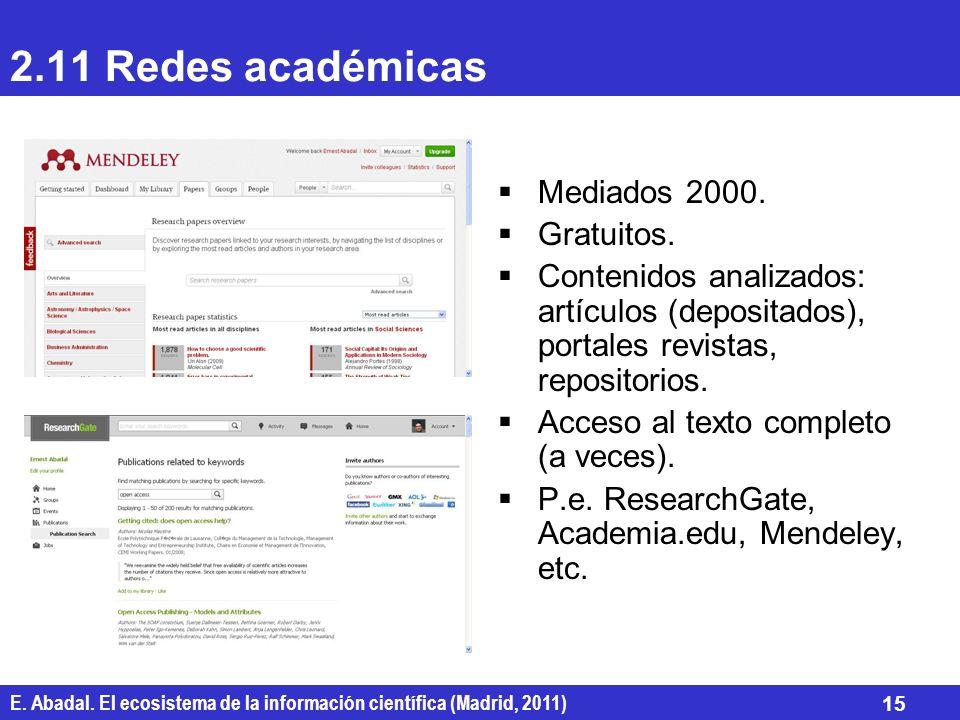2.11 Redes académicas Mediados 2000. Gratuitos.