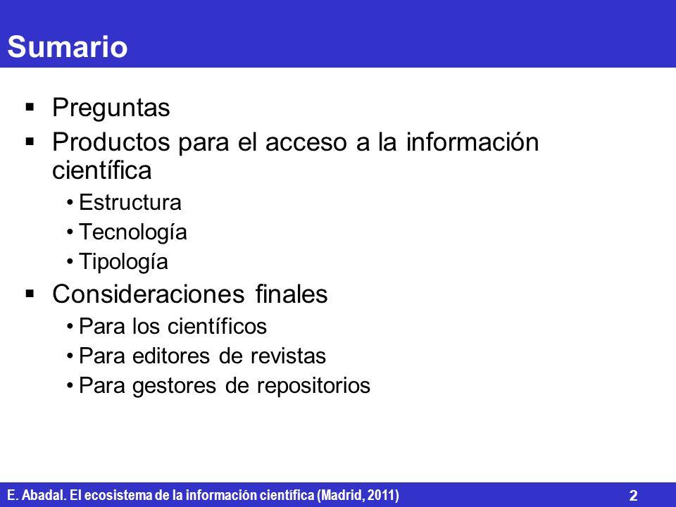 Sumario Preguntas Productos para el acceso a la información científica