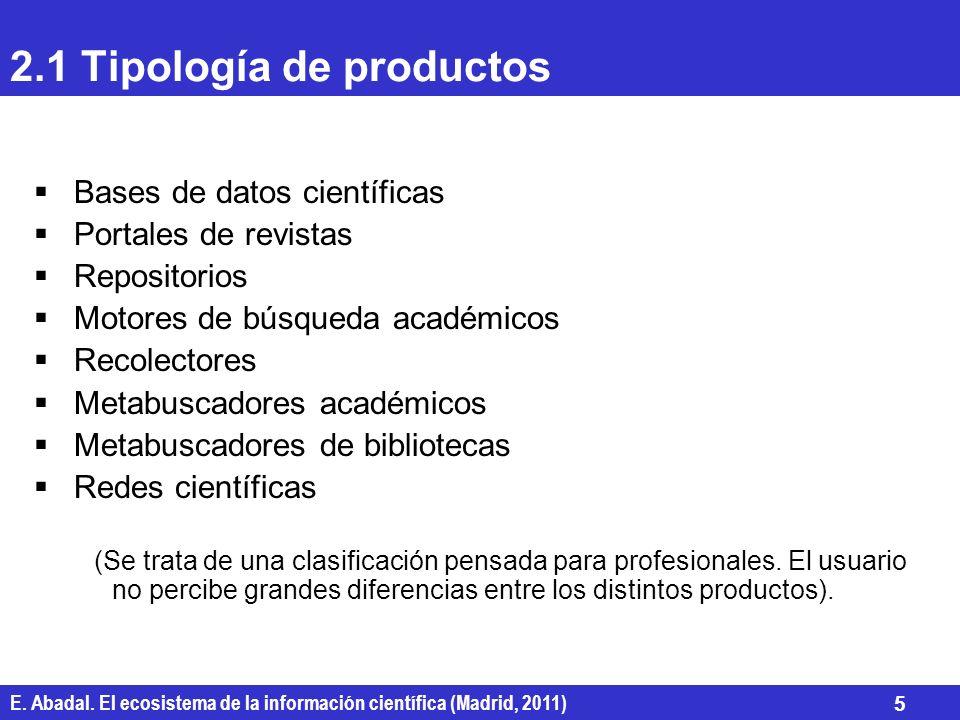 2.1 Tipología de productos