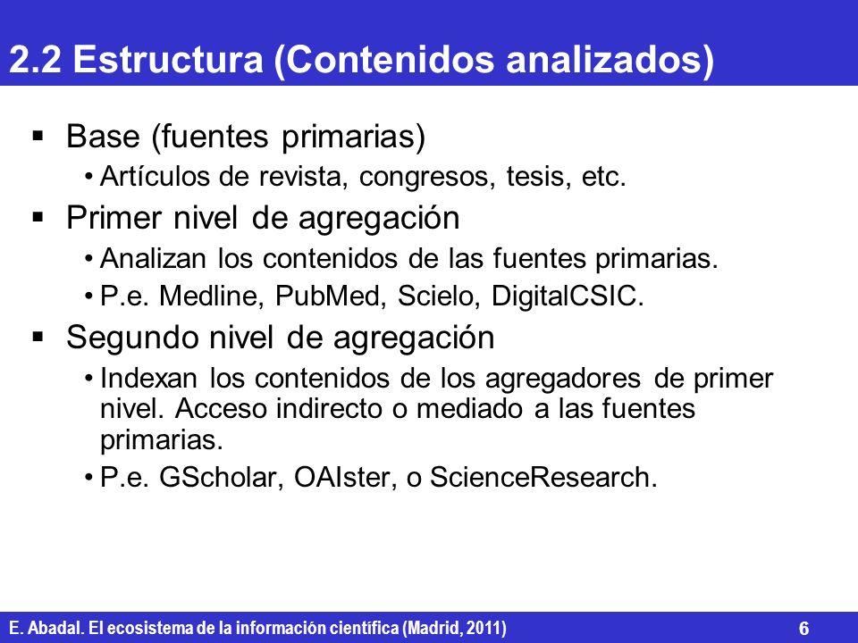 2.2 Estructura (Contenidos analizados)